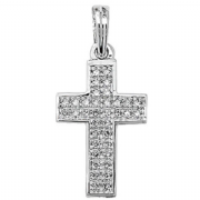 9ct white Gold 0.1ct Diamond set cross pendant